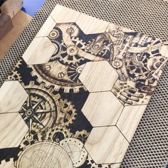 Steampunk art *work in progress *,Steampunk art panel. This is 1 of 5 panels that will make up our office desk. It made from reclaimed timber and I'm wood burning free hand on to the p. Wood Burning Tips, Wood Burning Crafts, Wood Burning Patterns, Wood Crafts, Diy Wood, Diy Crafts, Steampunk Kunst, Steampunk Artwork, Wood Burning Stencils