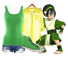 Toph - Shorts by dutchveertje on Polyvore featuring Ralph Lauren, Pinup Couture, Topshop, Converse, shorts, avatar, avatarthelastairbender, toph and tophbeifong