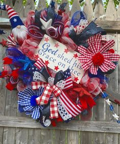God Shed His Grace on Thee Gnome Patriotic Memorial Day 4th of | Etsy Trendy Tree, Deco Mesh Wreaths, 4th Of July Wreath, Memorial Day, Gnomes, Shed, Handmade Gifts, Etsy, Kid Craft Gifts