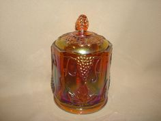 Vintage Indiana Carnival Glass Canister Jar by PastPossessionsOnly