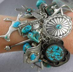 11oz 313G Yei Thunderbird 56 Charms Navajo Zuni Hopi Turquoise Charm Bracelet   eBay