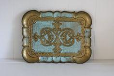 Vintage Italian Florentine Tray Aqua Gold Gilt