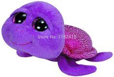 New 2014 Original TY Big Eyed Stuffed Animals Toys Cute Purple Turtle Plush Toys 15cm Brinquedos Kids Soft Toys for Children