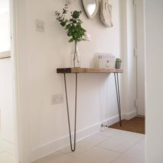 Narrow console table with hairpin legs, wooden rustic hallway table. These rustic, chunky, wooden, narrow console tables are perfect for narrower hallways and landings with a depth of between and and Rustic Hallway Table, Rustic Console Tables, Narrow Console Table, Entryway Tables, Rustic Table, Diy Table, Hallway Console Table, Rustic Room, Narrow Hallway Table