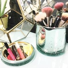 WEBSTA @ voluspacandles - Candle burnt out? Re-use our beautiful embossed glass vessels, as the perfect vanity container for brushes and cosmetics. Our Casa Pacifica vessel shown here. #VOLUSPA