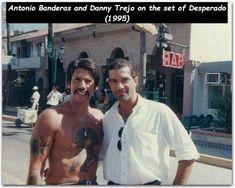 Danny Trejo and Antonio Banderas on the Set of Desperado 1995 : OldSchoolCool Beautiful Celebrities, Beautiful Men, Estilo Cholo, Danny Trejo, Cinema Tv, Reel Cinema, 90s Movies, Family Album, Movies