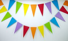 Rainbows 6ft. Pennant Rainbow Birthday Party by BeeBuzzPaperie