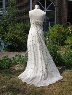 Rose Embroidered Net Halter Gown by hippiebride on Etsy