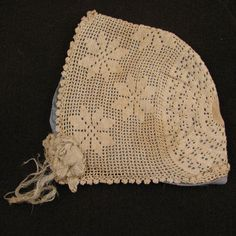 Early 1900s White Crocheted Cotton Baby Doll Bonnet Hat
