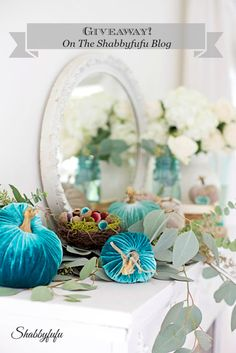 On the shabbyfufu blog I'm sharing an Aqua Autumn Mantel styling with velvet pumpkins. I've mixed in real greenery, barely blush roses and hydrangea and some velvet acorns.