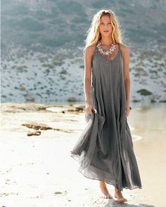 Cotton-Gauze Long Dress