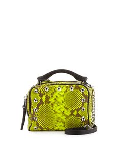 ASH Frankie Studded Leather Crossbody Bag, Yellow Snake. #ash #bags #shoulder bags #hand bags #leather #crossbody #lining #
