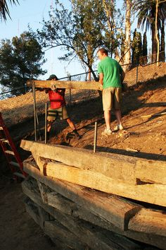 wikiHow to Build a Railroad Tie Retaining Wall -- via wikiHow.com
