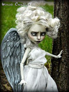 Weeping Angel Doctor Who Custom Monster High Rochelle Goyle Repaint Reroot OOAK