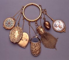 Chatelaine, ca. 1860 / American / silver, gold wash, ivory, enamel, glass.