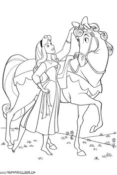 Princess Aurora Love Her Horse Coloring Page PageFull Size Image