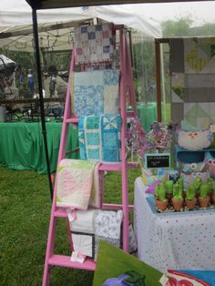 painted ladders as craft fair display - I make stuff