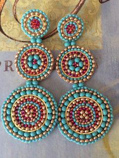 Beaded Turquoise and Ruby Triple Disc Stud Earrings Beaded Earrings Large Seed Bead Statement Jewelry - Pearl triple disc seed beads pearl earrings. If you want bold, statement jewelry, you will love the - Seed Bead Earrings, Beaded Earrings, Seed Beads, Hoop Earrings, Handmade Jewelry, Custom Jewelry, Beaded Jewelry Patterns, Bijoux Diy, Ring Verlobung