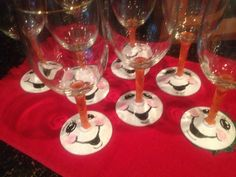 Cute snowman painted wine glasses