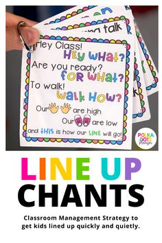 Classroom Management Line Up Chants