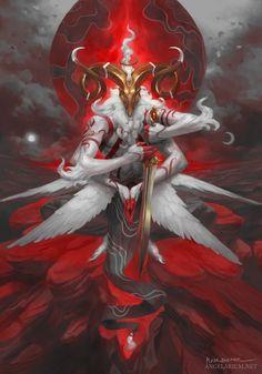 Malahidael, Angel of Aries - Timed Edition by Peter Mohrbacher Fantasy Monster, Monster Art, Dark Fantasy Art, Fantasy Artwork, Fantasy Rpg, Peter Mohrbacher, Aries Art, Character Art, Character Design