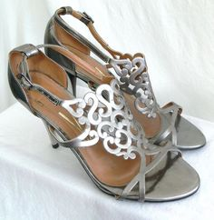 Vizzano Sandal Silver Metallic Evening Shoes Sz 7 Cutout Details Made In Brazil #Vizzano #Sandals #Party