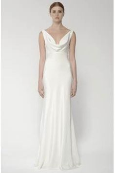 Alternate Image 4  - BLISS Monique Lhuillier Draped Neck Silk Crepe Wedding Dress (In Stores Only)
