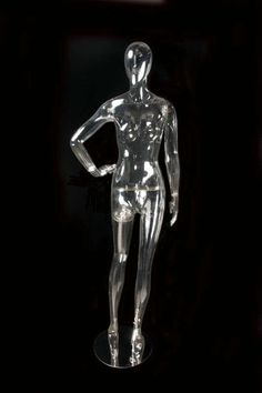 """This Clear Female Egghead Mannequin is in a one-hand-on-hip standing pose. Size Height : 73"""" Breast : 35"""" Waist : 25"""" Hips : 36"""" Inseam : 36"""" Note: Apparel is not included. Shipping: $60.00"""