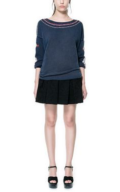 Image 1 of BOX PLEAT SKIRT WITH JACQUARD PATTERN from Zara