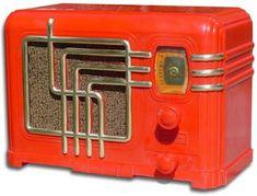 Red Art Deco Bakelite Radio