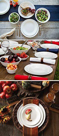 Corelle 20 Piece Livingware Dinnerware Set with StorageWinter Frost White & Corelle Livingware Winter Frost White 8.5