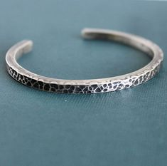 Mens Hammered Cuff Bracelet Sterling Silver