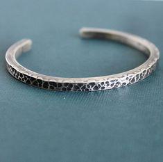 Mens Hammered Cuff Bracelet Sterling Silver