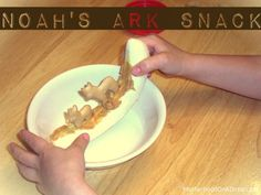 Noah's ark snack alternative. You could use frosting(to avoid food allergies) and only 1/2 a banana.