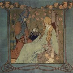 """Scene from """"Sleeping Beauty"""" by the Brothers Grimm. Illustration by Heinrich Vogeler. (1872 – 1942)"""
