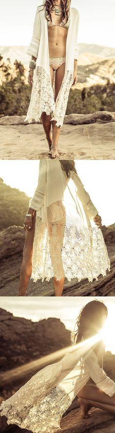 White Long Sleeve Crochet lace Kimono