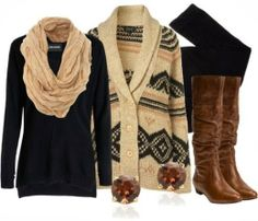 Fall Outfit With Cardigan,Cotton Scarf and Long Boots