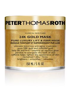 Peter Thomas Roth Gold Mask is the ultimate luxurious anti-aging treatment with pure gold and colloidal gold to help lift, firm, brighten, smooth and refresh the appearance of the skin. Colloidal Gold, Stress, Skin Care Clinic, Peter Thomas Roth, Magnesium, Anti Aging Treatments, Skin Care Treatments, Hydrating Mask, Anti Aging Facial