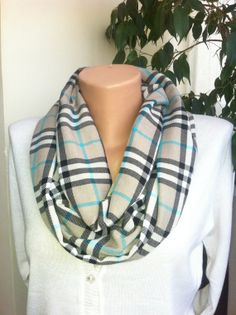 Plaid Infinity Scarf, Beige Infinity Scarf, Women's Scarves, Wool Plaid Winter Scarf, Winter Infinity Scarf, Scarves by Bella Turka