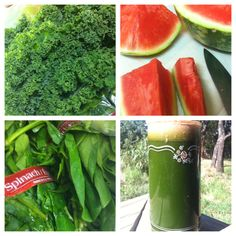 Juicing with watermelon, kale and spinach, just add lemon or ginger or both!