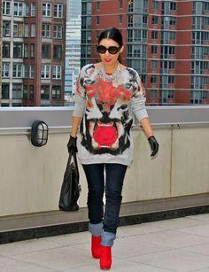Look: Graphic Sweater - Flor de Maria Fashion - Trendtation