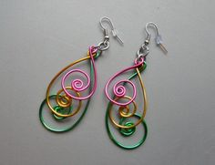 3 inch Peacock Pink Green Gold Aluminum Wire Earrings. $15.00, via Etsy.