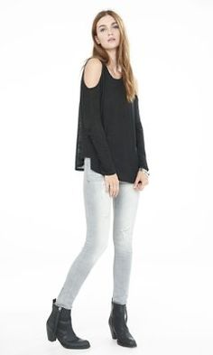 slub knit long sleeve cold shoulder tee from EXPRESS