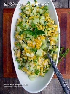 just very slightly adapted from my friend Ann at The Fountain Avenue Kitchen Fresh summer corn with crunchy cucumbers, basil and chives ... what more could you need to make a great salad? Not much,...