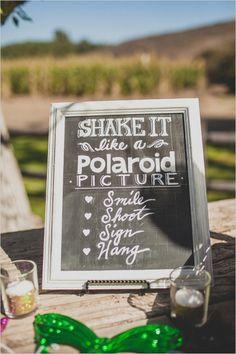 polaroid picture guestbook chalkboard sign #weddingguestbook #weddingceremony #weddingchicks http://www.weddingchicks.com/2014/02/12/california-ranch-wedding/