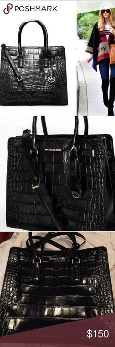 Michael Kors DILLON Large Convertible Tote. Black Used Once. No flaws at all. This bag will fit up to a 16 inch MacBook as well as standard size files and folders. Embossed Croc Leather. 100% guaranteed authentic MK. Additional adjustable strap included. Michael Kors Bags Satchels