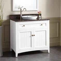"36""+Halifax+Vanity+for+Semi-Recessed+Sink+-+White"