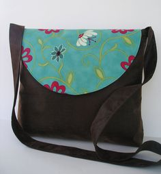 Messenger Bag / Crossbody Bag / in Brown Faux by jazzygeminis, $30.00