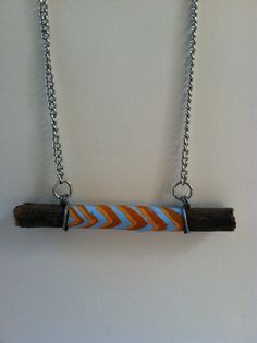 Eco Friendly Wooden Necklace hand painted in tribal pattern  by ModTribe, $30.00