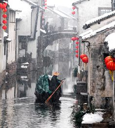Water Village in winter . . . Photo by Rui Yuan, Shanghai Photographer.  I love his work and often visit his gallery in Taikang Lu, Shanghai, China.